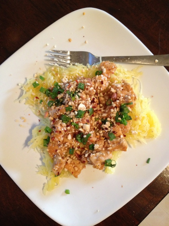Spaghetti Squash Chicken Pad Thai